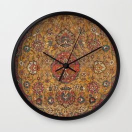 Persian Medallion Rug VI // 16th Century Distressed Red Green Blue Flowery Colorful Ornate Pattern Wall Clock