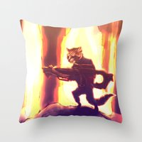 rocket raccoon Throw Pillows featuring Rocket Raccoon by Mimi JJ