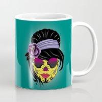 sugar skull Mugs featuring SUGAR SKULL by mark ashkenazi