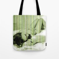 naked Tote Bags featuring Naked by Cesar Peralta