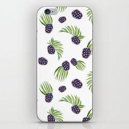 Hand painted black green watercolor fruity blackberries iPhone Skin