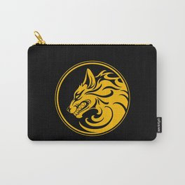 Yellow and Black Growling Wolf Disc Carry-All Pouch