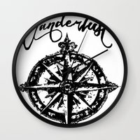 wanderlust Wall Clocks featuring Wanderlust  by DannyAlaska