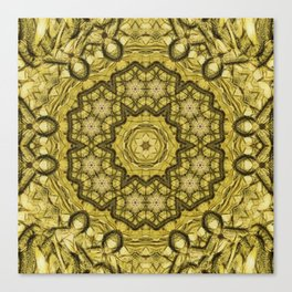 abstract massed wattle mandala in yellow Canvas Print