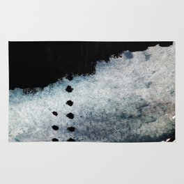 Closer - a black, blue, and white abstract piece Rug