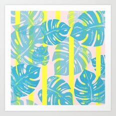 Linocut Monstera Neon Art Print