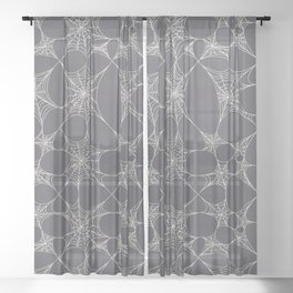 Spiderweb Pattern in Black Sheer Curtain