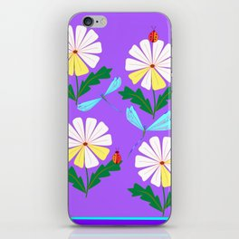 White Spring Daisies, Dragonflies, Lady Bugs lavender iPhone Skin