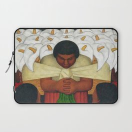 Calla Lilies in white Flower Vendor at the Flower Festival floral portrait painting by Diego Rivera Laptop Sleeve