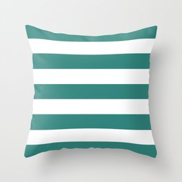 Celadon green - solid color - white stripes pattern Throw Pillow