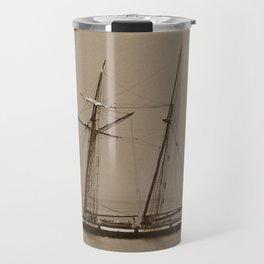 Tall ship and the Fog Travel Mug