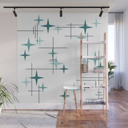 Mid Century Modern Stars (Teal) Wall Mural