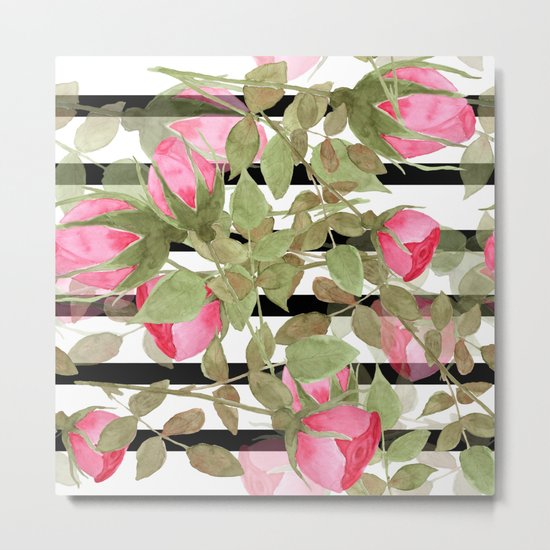 Watercolor . Buds of roses on a striped black and white background Metal Print