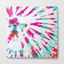 Summer Artsy Girly Neon Teal Pink Tie Dye Pattern Metal Print