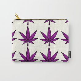Filigree Floral Cannabis Leaf- 4x4 tile Purple Carry-All Pouch