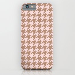 Classic Houndstooth Pattern in Rose Gold and Blush Colors iPhone Case