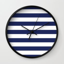 Navy Blue and White Stripes Wall Clock