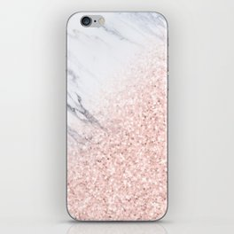 She Sparkles Rose Gold Pink Marble Luxe Geometric iPhone Skin