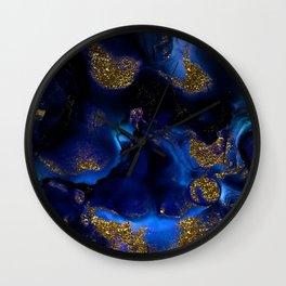 Gold and Indigo Malachite Marble Wall Clock