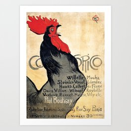Vintage poster Cocorico - Alfons Mucha (new color rendition) Art Print
