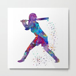 Girl Baseball Softball Batter Watercolour Sports Art Colorful Baseball Print Metal Print