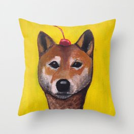 """Cherry on Pup"" Shiba Inu Throw Pillow"