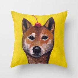 """Cherry on Pup"" Shiba Inu Throw Pillow"