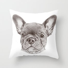 Drawing of french bulldog Throw Pillow