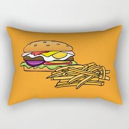 Aussie Burger with Chips (Fries) on Orange Rectangular Pillow