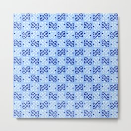 Symmetric patterns 198 dark and light blue Metal Print