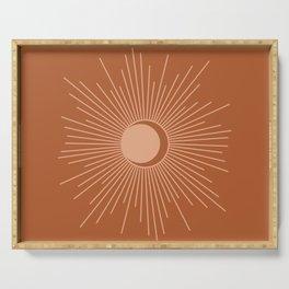 Sun and Moon Minimalist Sunburst in Terracotta Earth Tones Serving Tray