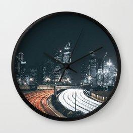 Night city long exposure Wall Clock