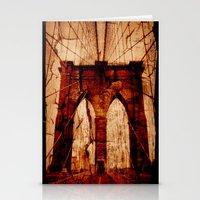 brooklyn bridge Stationery Cards featuring Brooklyn Bridge by Del Vecchio Art by Aureo Del Vecchio