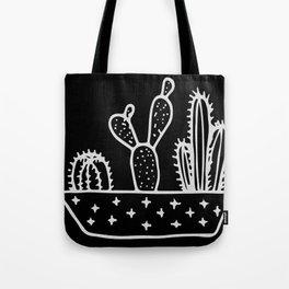 Cactus Planter Gray on Black Tote Bag