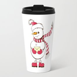Snowman holding envelope Christmas design Travel Mug