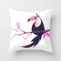 toucan Throw Pillows featuring Toucan by Katikut