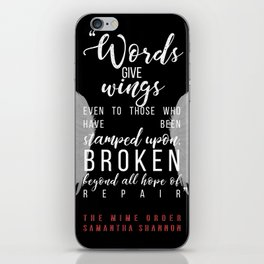 Jaxon Hall, The Mime Order Quote in black, from The Bone Season series by Samantha Shannon iPhone Skin
