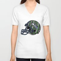 seahawks V-neck T-shirts featuring Polynesian Style Seahawks by Lonica Photography & Poly Designs