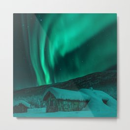 Norway Photography - Limed Colored Northern Light In The Norwegian Winter Metal Print