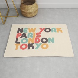 New York Paris London Tokyo Typography - Retro Rainbow Rug