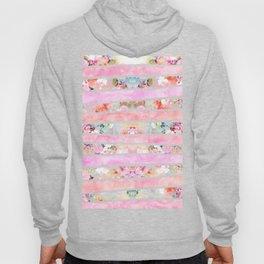 Modern floral watercolor girly pastel pink stripes Hoody
