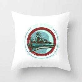 Astronaut Riding Space Ship Emblem Throw Pillow