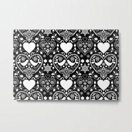 Black And White Hygge Scandi Christmas Folk Art Design Metal Print