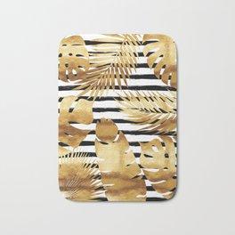 Tropical Leaves & Stripes - Black Bath Mat