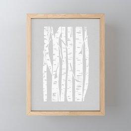 Woodcut Birches Grey Framed Mini Art Print