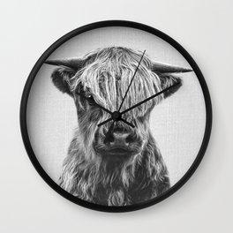 Highland Calf - Black & White Wall Clock