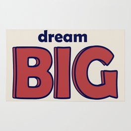 Dream BIG - Positive Thinking - Deep Blue & Red Rug