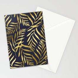 Gold Leaves on Navy Stationery Cards