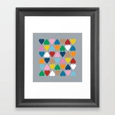 Diamond Hearts on Grey Framed Art Print