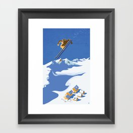 Retro Sky Skier Framed Art Print